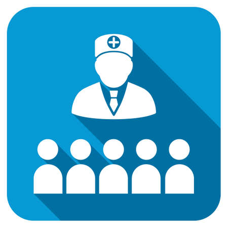 lecture hall: Doctor Class longshadow icon. Style is a blue rounded square button with a white rounded symbol with long shadow.