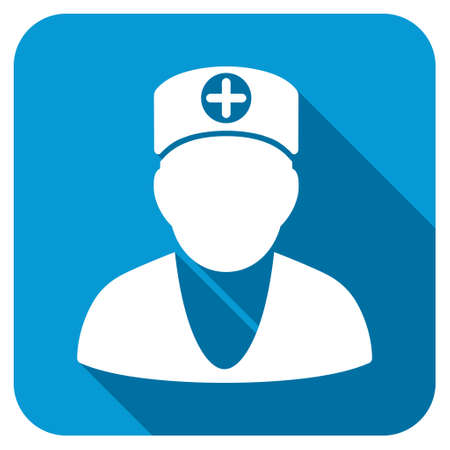 Doctor longshadow icon. Style is a blue rounded square button with a white rounded symbol with long shadow. Stock Photo