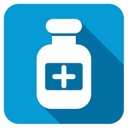 a substance vial: Drugs Bottle longshadow icon. Style is a blue rounded square button with a white rounded symbol with long shadow. Stock Photo