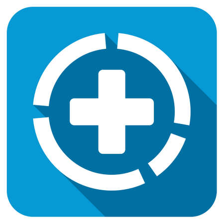 health care analytics: Health Care Diagram longshadow icon. Style is a blue rounded square button with a white rounded symbol with long shadow. Stock Photo