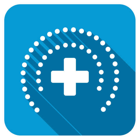 health care protection: Health Care Protection longshadow icon. Style is a blue rounded square button with a white rounded symbol with long shadow. Stock Photo