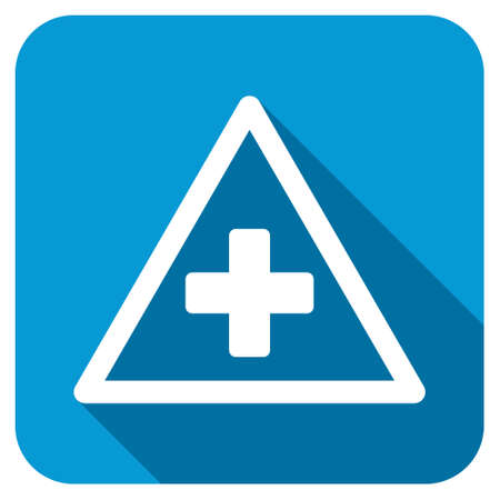 medical attention: Health Warning longshadow icon. Style is a blue rounded square button with a white rounded symbol with long shadow. Stock Photo