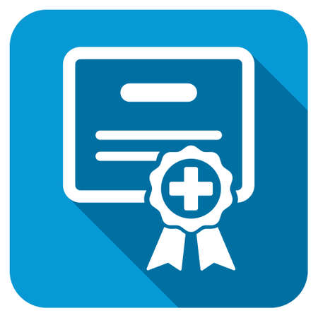 assertion: Medical Certificate longshadow icon. Style is a blue rounded square button with a white rounded symbol with long shadow. Stock Photo