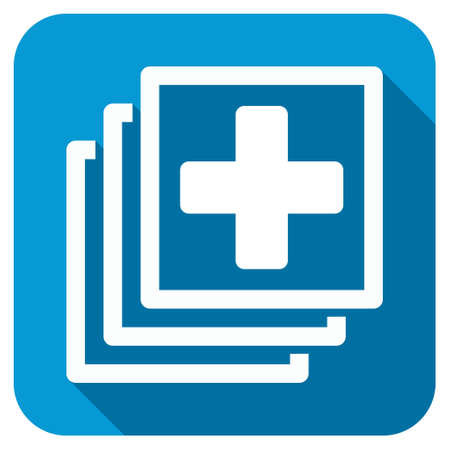 docs: Medical Docs longshadow icon. Style is a blue rounded square button with a white rounded symbol with long shadow.