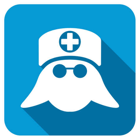 rounded: Nurse Head longshadow icon. Style is a blue rounded square button with a white rounded symbol with long shadow.