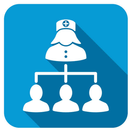 patients: Nurse Patients longshadow icon. Style is a blue rounded square button with a white rounded symbol with long shadow. Stock Photo