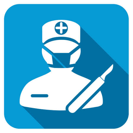 executor: Surgeon longshadow icon. Style is a blue rounded square button with a white rounded symbol with long shadow.