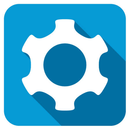 config: Gear longshadow icon. Style is a blue rounded square button with a white rounded symbol with long shadow. Archivio Fotografico
