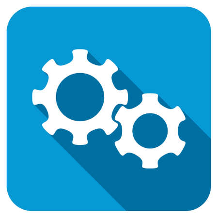 config: Gears longshadow icon. Style is a blue rounded square button with a white rounded symbol with long shadow.