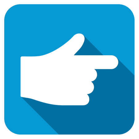 Index longshadow icon. Style is a blue rounded square button with a white rounded symbol with long shadow. Stock Photo