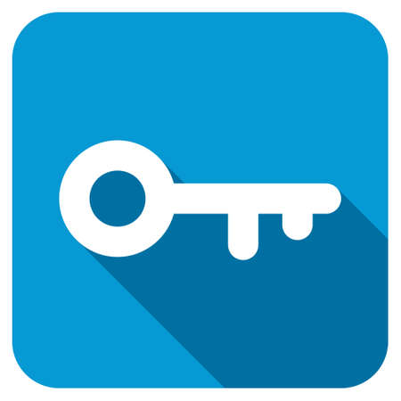 keep gate closed: Key longshadow icon. Style is a blue rounded square button with a white rounded symbol with long shadow.
