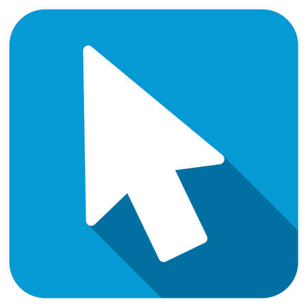 mouse pointer: Mouse pointer longshadow icon. Style is a blue rounded square button with a white rounded symbol with long shadow.