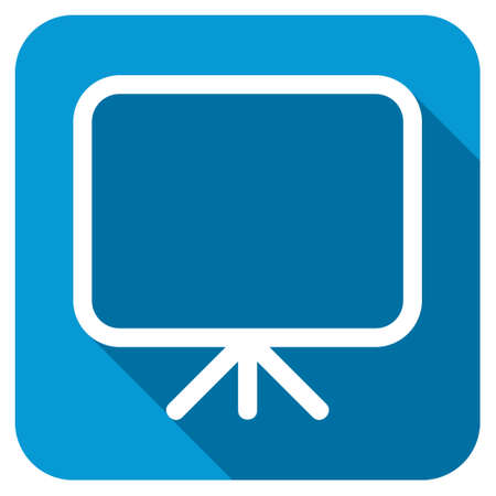 presentation screen: Presentation screen longshadow icon. Style is a blue rounded square button with a white rounded symbol with long shadow. Stock Photo