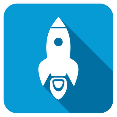 satellite launch: Rocket longshadow icon. Style is a blue rounded square button with a white rounded symbol with long shadow.