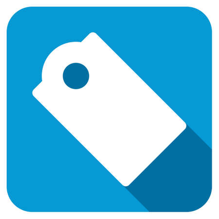 operand: Tag longshadow icon. Style is a blue rounded square button with a white rounded symbol with long shadow. Stock Photo