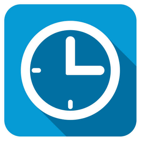 timed: Time longshadow icon. Style is a blue rounded square button with a white rounded symbol with long shadow. Stock Photo