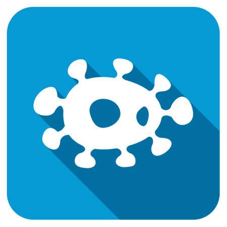 ameba: icono de virus Longshadow. El estilo es un bot�n cuadrado redondeado azul con un s�mbolo redondo blanco con una larga sombra.