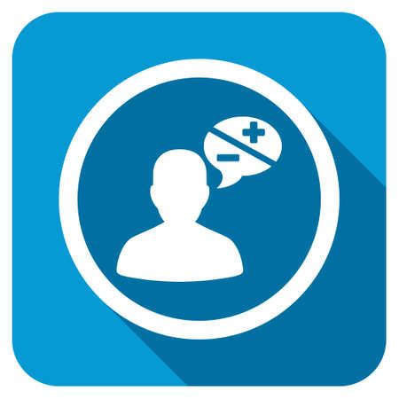 arguments: Arguments longshadow icon. Style is a blue rounded square button with a white rounded symbol with long shadow.