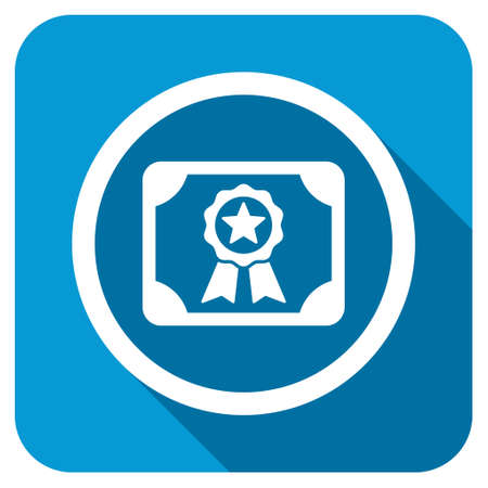 attest: Certificate longshadow icon. Style is a blue rounded square button with a white rounded symbol with long shadow.