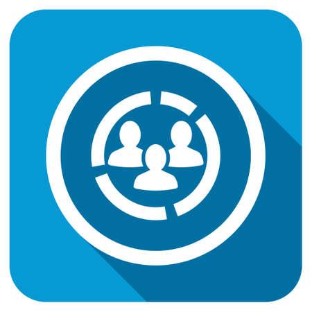 demografia: Demografía icono diagrama Longshadow. El estilo es un botón cuadrado redondeado de color azul con un símbolo redondo blanco con larga sombra.