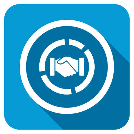 acquisition: Acquisition diagram longshadow icon. Style is a blue rounded square button with a white rounded symbol with long shadow.