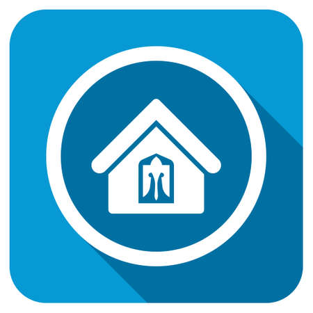 domestic garage: Home longshadow icon. Style is a blue rounded square button with a white rounded symbol with long shadow.