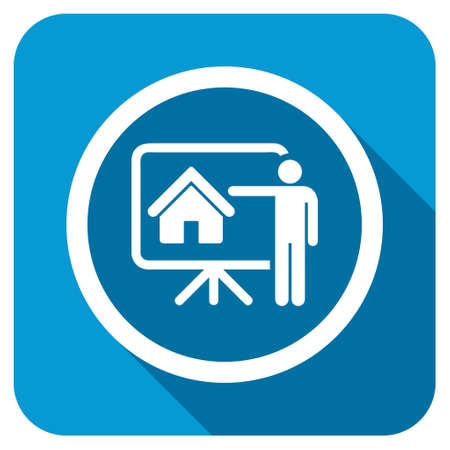 realtor: Realtor longshadow icon. Style is a blue rounded square button with a white rounded symbol with long shadow.