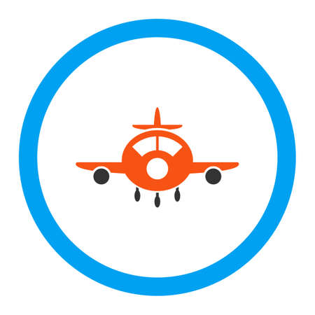 airflight: Aircraft vector icon. Style is flat rounded symbol, bright colors, rounded angles, white background.