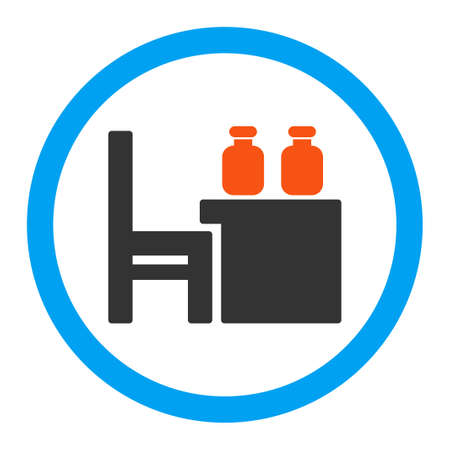 apothecary: Apothecary Table vector icon. Style is flat rounded symbol, bright colors, rounded angles, white background.