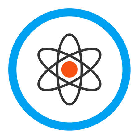 white atom: Atom vector icon. Style is flat rounded symbol, bright colors, rounded angles, white background. Illustration
