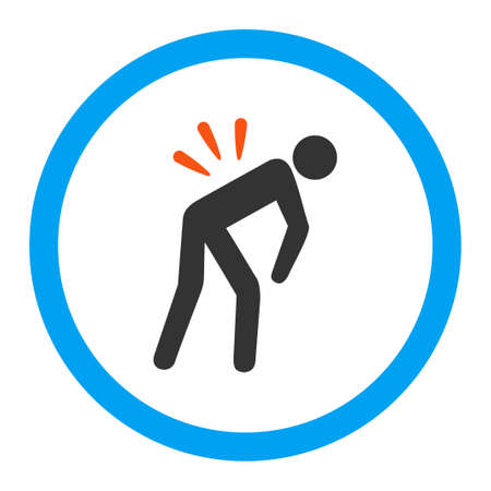 backache: Backache vector icon. Style is flat rounded symbol, bright colors, rounded angles, white background.
