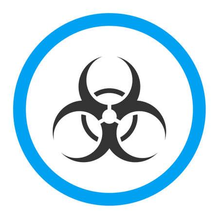 riesgo biologico: Símbolo de riesgo biológico del vector del icono. El estilo es el símbolo plana redondeada, colores brillantes, ángulos redondeados, fondo blanco. Vectores