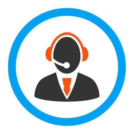 call center office: Call Center Worker vector icon. Style is flat rounded symbol, bright colors, rounded angles, white background.