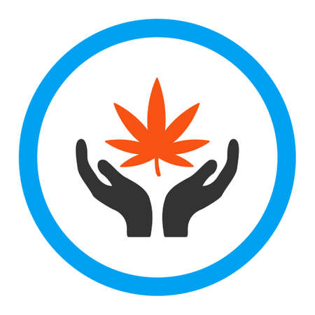 canabis: Cannabis Care vector icon. Style is flat rounded symbol, bright colors, rounded angles, white background.