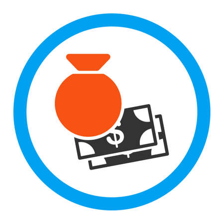 moneybag: Capital vector icon. Style is flat rounded symbol, bright colors, rounded angles, white background. Illustration