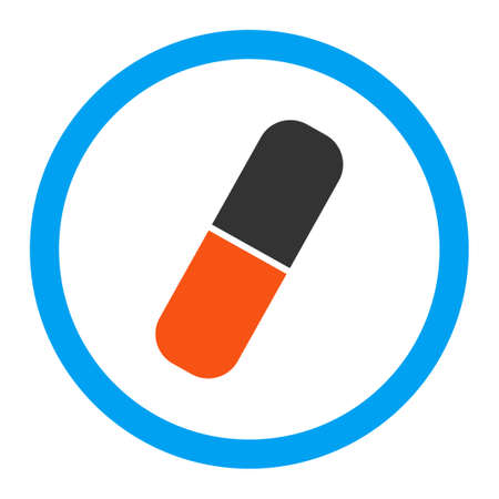 aspirin: Capsule vector icon. Style is flat rounded symbol, bright colors, rounded angles, white background.