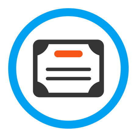 authorize: Certificate vector icon. Style is flat rounded symbol, bright colors, rounded angles, white background.