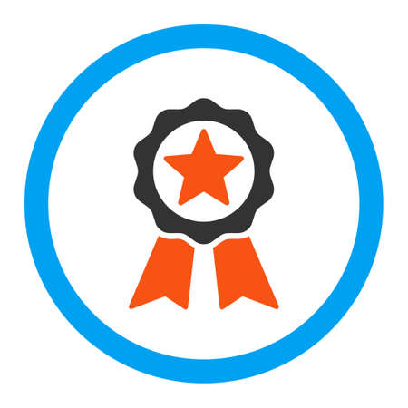 certification: Certification Seal vector icon. Style is flat rounded symbol, bright colors, rounded angles, white background. Illustration