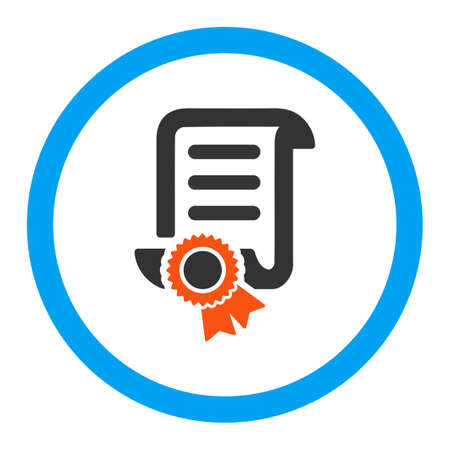 master page: Certified Scroll Document vector icon. Style is flat rounded symbol, bright colors, rounded angles, white background.