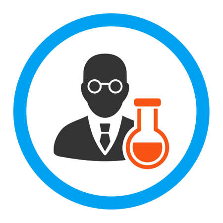 chemist: Chemist vector icon. Style is flat rounded symbol, bright colors, rounded angles, white background.