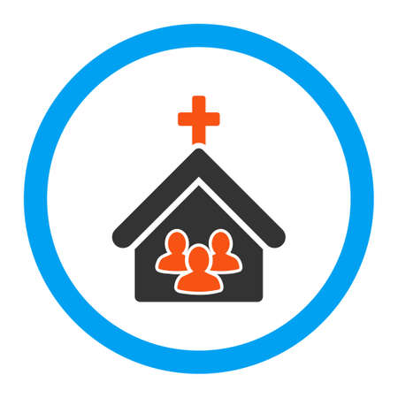 church group: Church vector icon. Style is flat rounded symbol, bright colors, rounded angles, white background. Illustration
