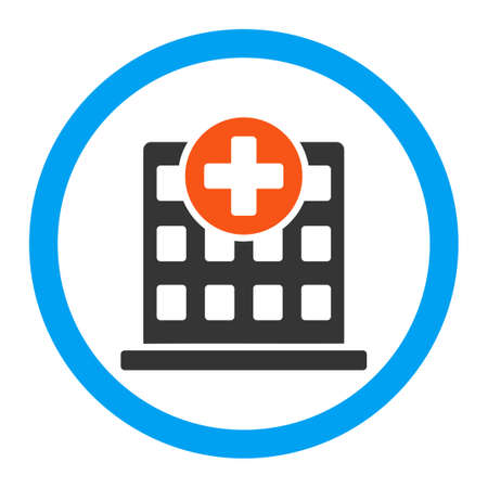polyclinic: Clinic vector icon. Style is flat rounded symbol, bright colors, rounded angles, white background.