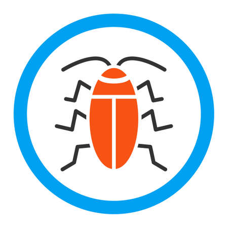 roach: Cockroach vector icon. Style is flat rounded symbol, bright colors, rounded angles, white background.