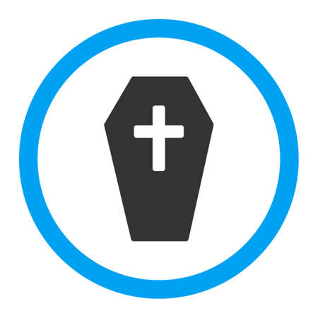 burial: Coffin vector icon. Style is flat rounded symbol, bright colors, rounded angles, white background.