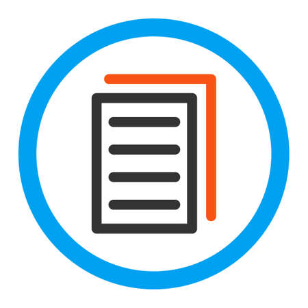 replication: Copy Document vector icon. Style is flat rounded symbol, bright colors, rounded angles, white background.