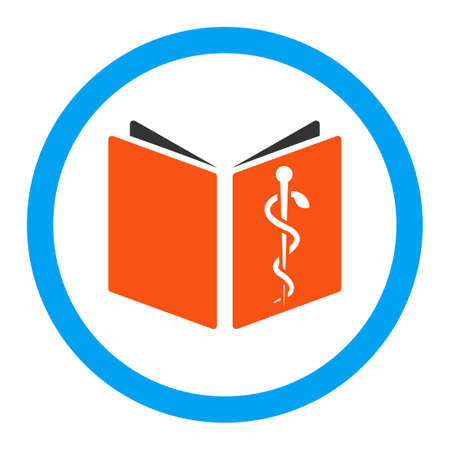 handbook: Drug Handbook vector icon. Style is flat rounded symbol, bright colors, rounded angles, white background. Illustration