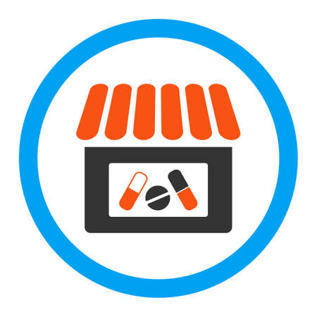 polyclinic: Drugstore vector icon. Style is flat rounded symbol, bright colors, rounded angles, white background.