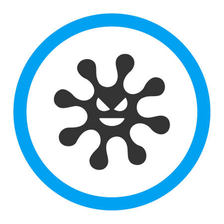 goad: Evil Bacteria vector icon. Style is flat rounded symbol, bright colors, rounded angles, white background. Illustration