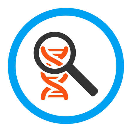 Explore Dna vector icon. Style is flat rounded symbol, bright colors, rounded angles, white background.