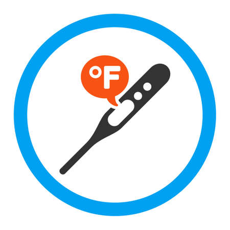 weather gauge: Fahrenheit Temperature vector icon. Style is flat rounded symbol, bright colors, rounded angles, white background.